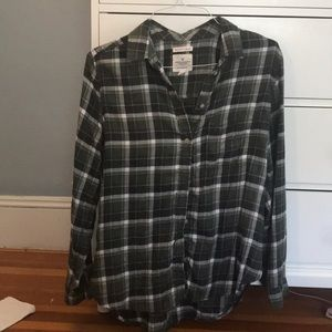 Green and white flannel top
